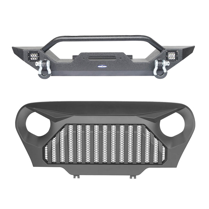 Hooke Road Jeep TJ Front Bumper and Gladiator Grille Cover Combo for Jeep Wrangler TJ 1997-2006 MMR0276BXG149 Different Trail Front Bumper u-Box Offroad 3