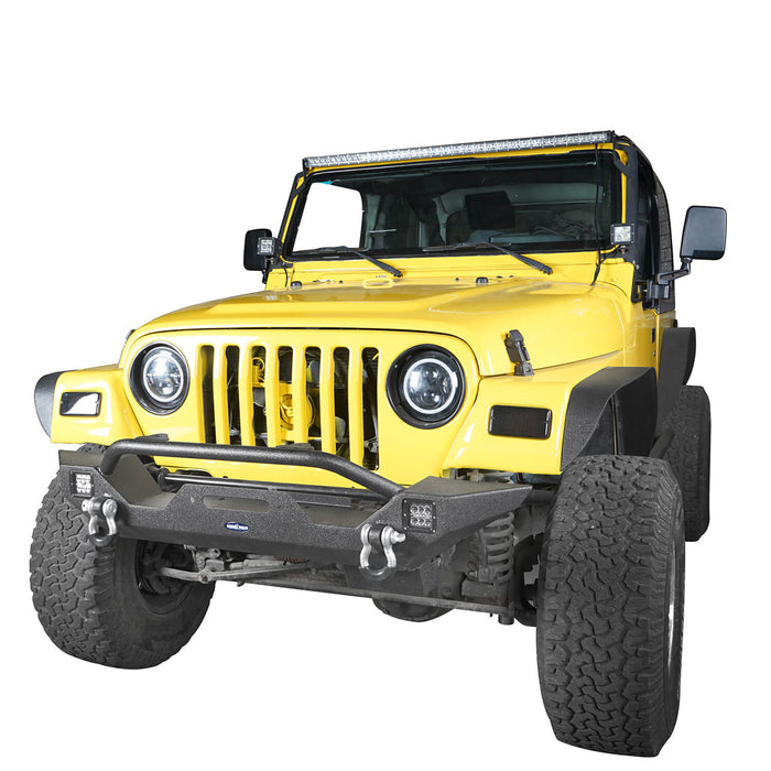 Hooke Road Jeep TJ Front Bumper and Gladiator Grille Cover Combo for Jeep Wrangler TJ 1997-2006 MMR0276BXG149 Different Trail Front Bumper u-Box Offroad 6