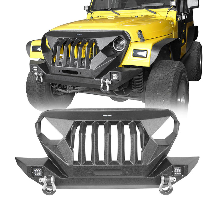 Hooke Road Jeep TJ Front Bumper Grille Guard Winch Plate for 1997-2006 Jeep Wrangler TJ u-Box Offroad Jeep Wrangler Front bumper Jeep Front bumper Jeep Wrangler Accessories BXG214 2