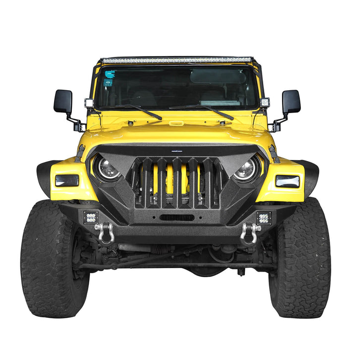 Hooke Road Jeep TJ Front Bumper Grille Guard Winch Plate for 1997-2006 Jeep Wrangler TJ u-Box Offroad Jeep Wrangler Front bumper Jeep Front bumper Jeep Wrangler Accessories BXG214 3