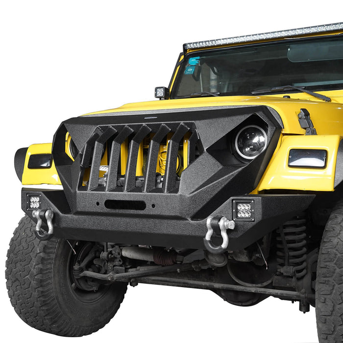 Hooke Road Jeep TJ Front Bumper Grille Guard Winch Plate for 1997-2006 Jeep Wrangler TJ u-Box Offroad Jeep Wrangler Front bumper Jeep Front bumper Jeep Wrangler Accessories BXG214  4