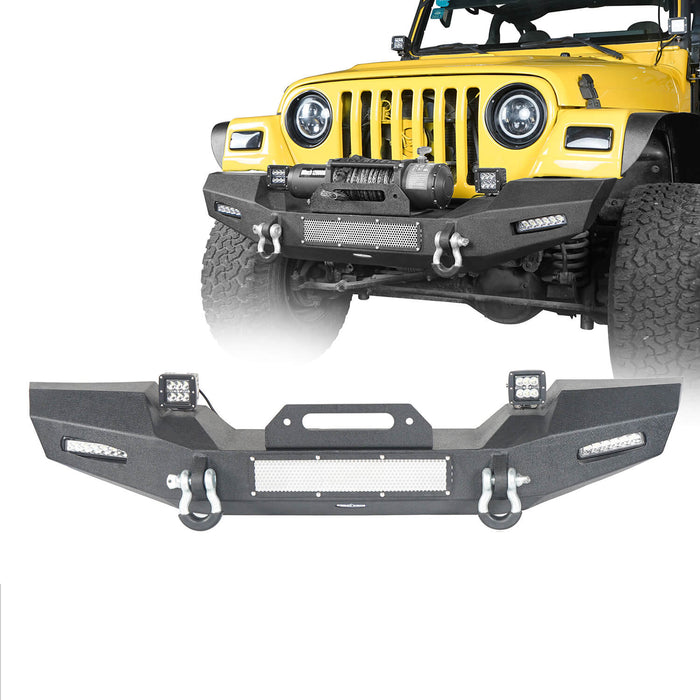 Hooke Road Jeep TJ Front Bumper with Winch Plate and LED Spotlights Climber Front Bumper for Jeep Wrangler TJ 1997-2006 BXG215 Jeep Bumpers u-Box Offroad 2