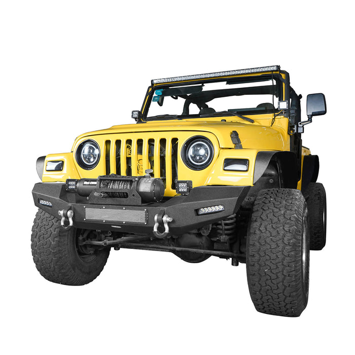Hooke Road Jeep TJ Front Bumper with Winch Plate and LED Spotlights Climber Front Bumper for Jeep Wrangler TJ 1997-2006 BXG215 Jeep Bumpers u-Box Offroad 3