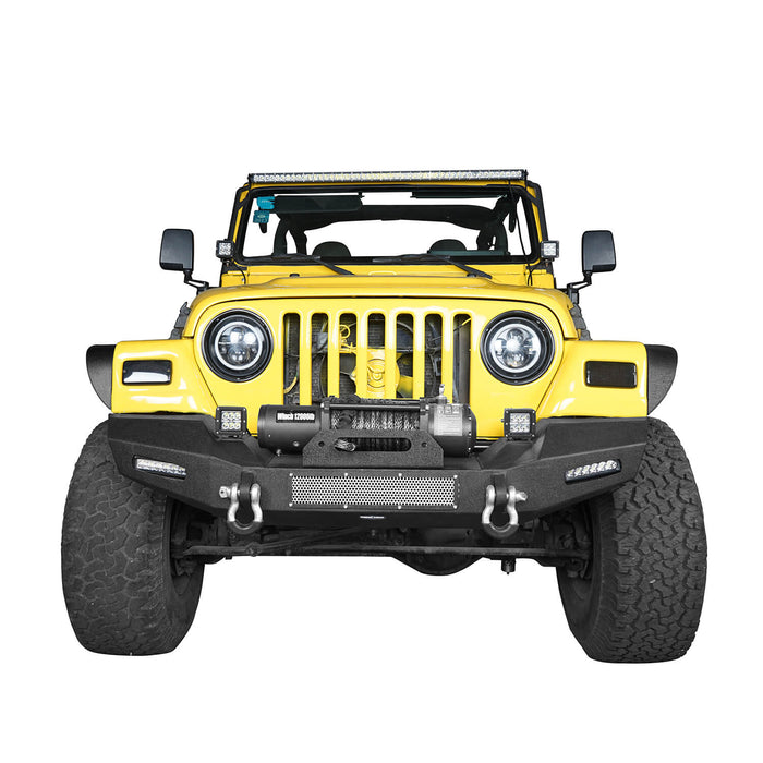 Hooke Road Jeep TJ Front Bumper with Winch Plate and LED Spotlights Climber Front Bumper for Jeep Wrangler TJ 1997-2006 BXG215 Jeep Bumpers u-Box Offroad 4