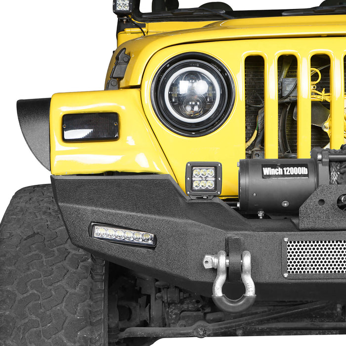 Hooke Road Jeep TJ Front Bumper with Winch Plate and LED Spotlights Climber Front Bumper for Jeep Wrangler TJ 1997-2006 BXG215 Jeep Bumpers u-Box Offroad 6