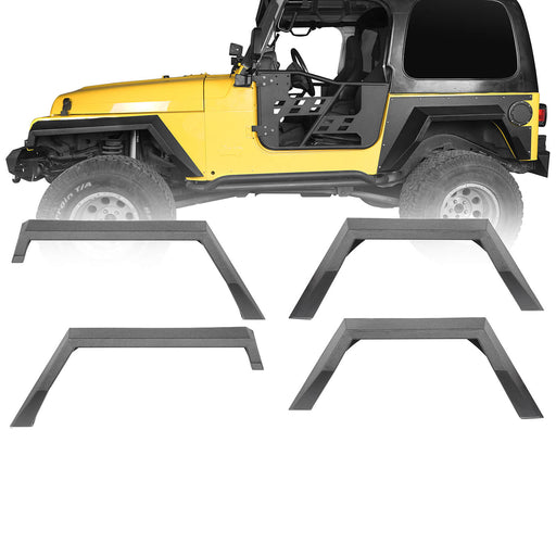 Hooke Road Front & Rear Fender Flares Jeep TJ Fender Flares for Jeep Wrangler TJ 1997-2006 bxg205 u-Box Offroad 2