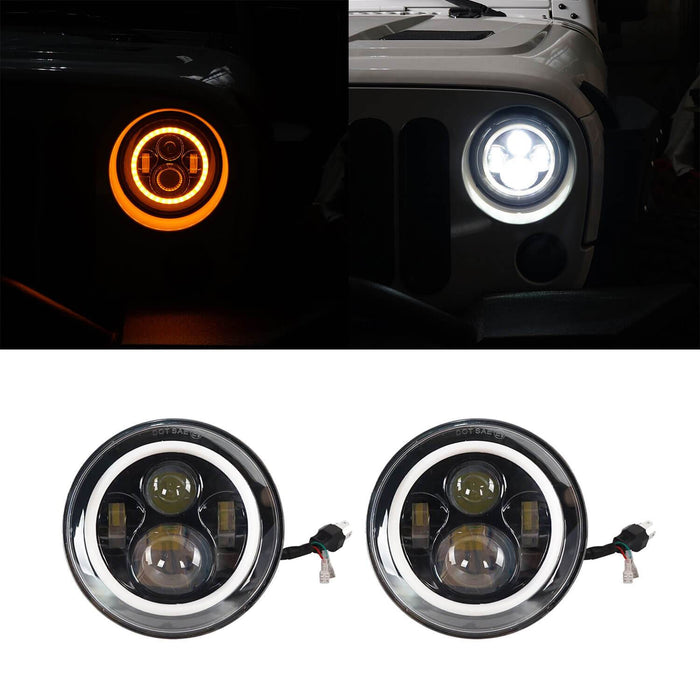 Hooke Road Jeep TJ JK 7 inch LED Headlights with White Halo Ring Angel Eyes for Jeep Wrangler TJ JK 1997-2018 mmrz010 Jeep Wrangler Accessories 2
