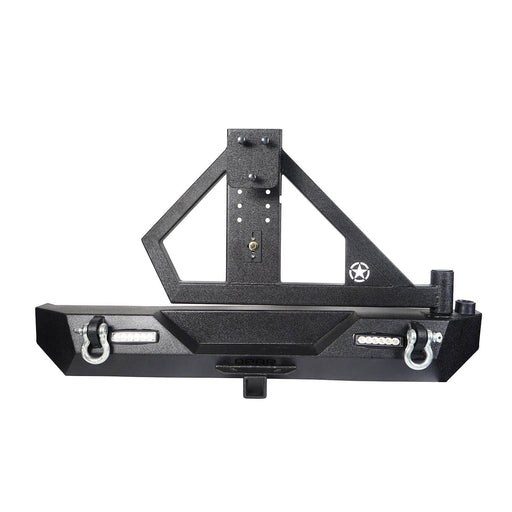 Hooke Road Jeep TJ Rear Bumper With Tire Carrier & Receiver Hitch for Jeep Wrangler TJ 1997-2006 BXG186 u-Box offroad 2