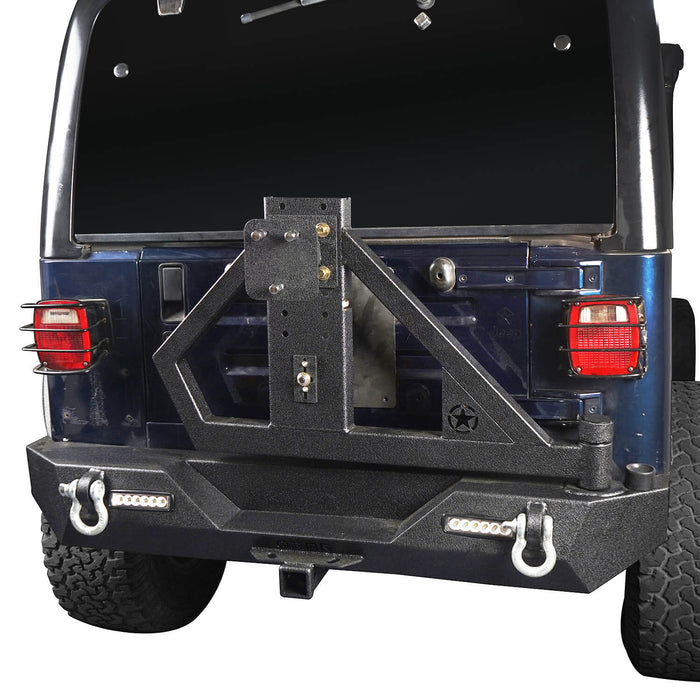 Hooke Road Jeep TJ Rear Bumper With Tire Carrier & Receiver Hitch for Jeep Wrangler TJ 1997-2006 BXG186 u-Box offroad 3
