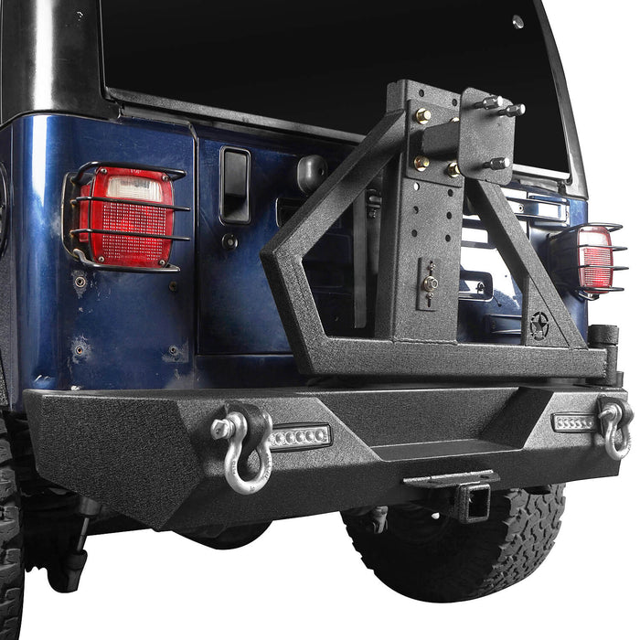 Hooke Road Jeep TJ Rear Bumper With Tire Carrier & Receiver Hitch for Jeep Wrangler TJ 1997-2006 BXG186 u-Box offroad 5