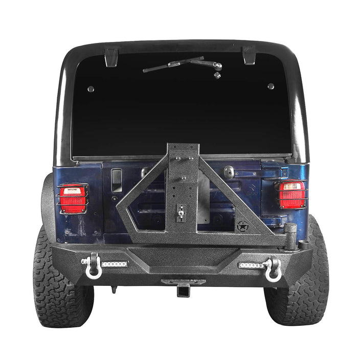 Hooke Road Jeep TJ Rear Bumper With Tire Carrier & Receiver Hitch for Jeep Wrangler TJ 1997-2006 BXG186 u-Box offroad 7