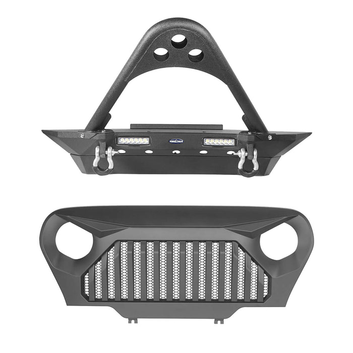 Hooke Road Jeep TJ Stinger Front Bumper and Gladiator Grille Cover Combo for Jeep Wrangler TJ 1997-2006 MMR0276BXG152 Stubby Front Bumper u-Box Offroad 3