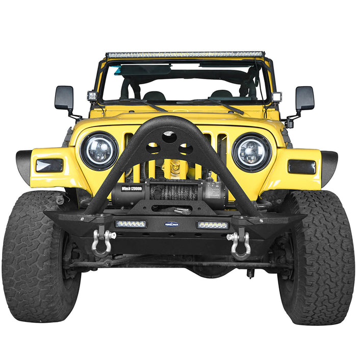 Hooke Road Jeep TJ Stinger Front Bumper and Gladiator Grille Cover Combo for Jeep Wrangler TJ 1997-2006 MMR0276BXG152 Stubby Front Bumper u-Box Offroad 5