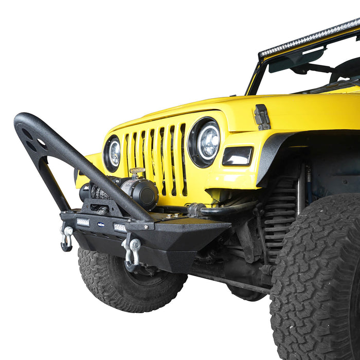 Hooke Road Jeep TJ Stinger Front Bumper and Gladiator Grille Cover Combo for Jeep Wrangler TJ 1997-2006 MMR0276BXG152 Stubby Front Bumper u-Box Offroad 6