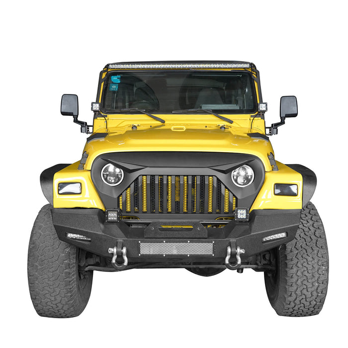 Hooke Road Jeep TJ Stinger Front Bumper and Gladiator Grille Cover Combo for Jeep Wrangler TJ 1997-2006 MMR0276BXG152 Stubby Front Bumper u-Box Offroad 9