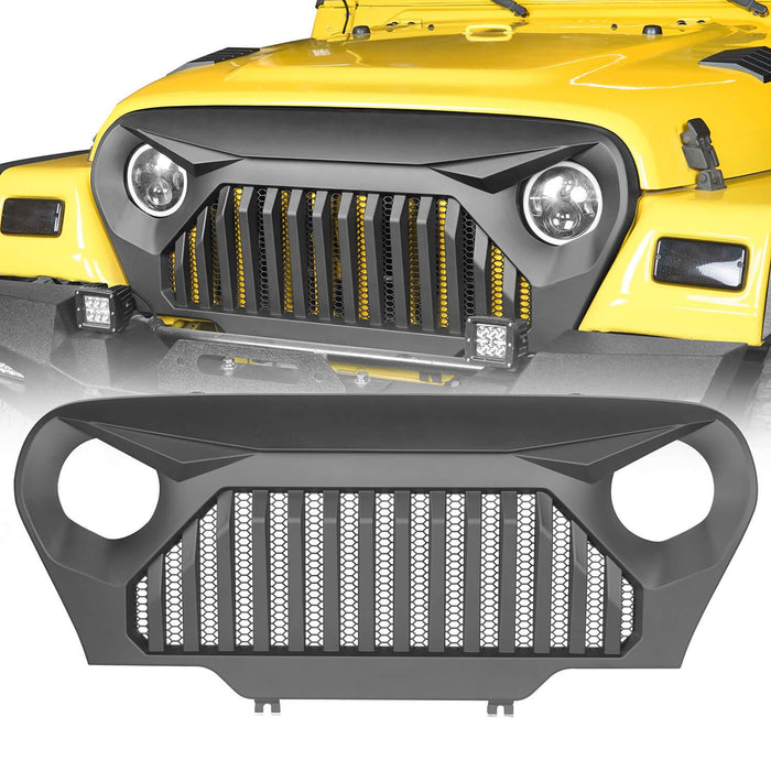 Hooke Road Vader Grill with Mesh Inserts Jeep Vader Grill Front Grille Cover Jeep Grille Cover for Jeep Wrangler TJ 1997-2006 MMR-0276 Jeep Body Armor 2