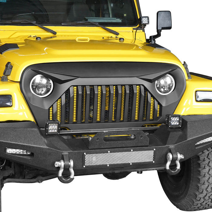 Hooke Road Vader Grill with Mesh Inserts Jeep Vader Grill Front Grille Cover Jeep Grille Cover for Jeep Wrangler TJ 1997-2006 MMR-0276 Jeep Body Armor 4