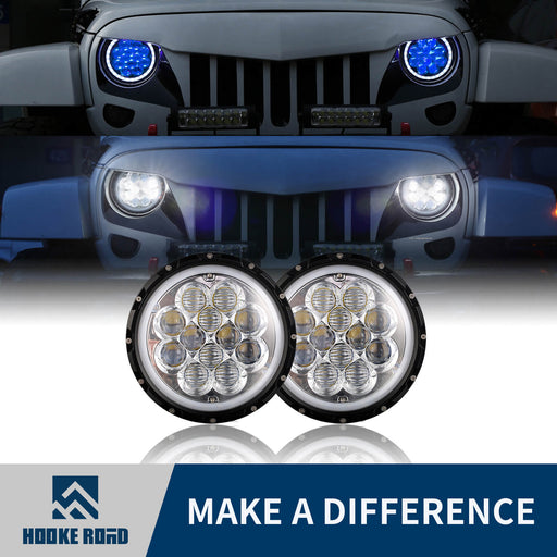 Hooke Road Opar 7 Inch DRL LED Headlights Halo Angel Eyes for 97-18 Jeep Wrangler JK Jeep Wrangler TJ MMRD u-Box offroad 1