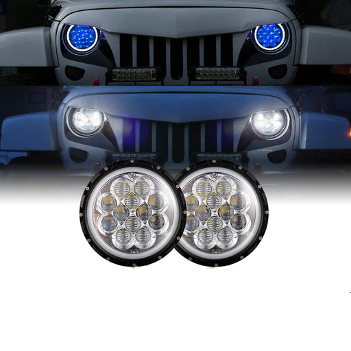 Hooke Road Opar 7 Inch DRL LED Headlights Halo Angel Eyes for 97-18 Jeep Wrangler JK Jeep Wrangler TJ MMRD u-Box offroad 2