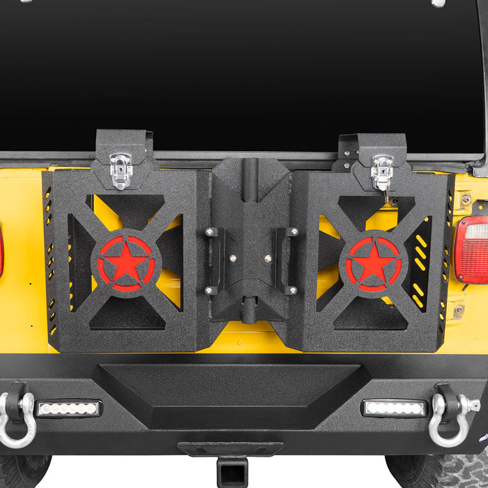 Hooke Road® Double Jerry Gas Can Holder Tailgate Mount(97-06 Jeep Wrangler TJ)