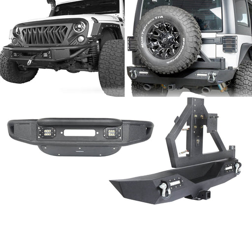 Hooke Road Opar Lotus Tubular Front Bumper & Different Trail Rear Bumper w/Tire Carrier Combo Kit for 2007-2018 Jeep Wrangler JK JKU BXG132114 u-Box offroad 2