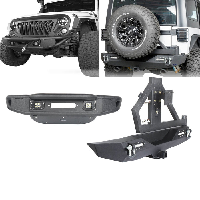 Hooke Road Opar Lotus Tubular Front Bumper & Different Trail Rear Bumper w/Tire Carrier Combo Kit for 2007-2018 Jeep Wrangler JK JKU u-Box offroad 2