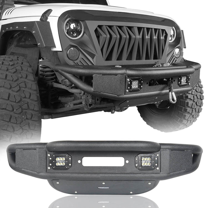 Hooke Road Opar Lotus Tubular Front Bumper & Different Trail Rear Bumper w/Tire Carrier Combo Kit for 2007-2018 Jeep Wrangler JK JKU u-Box offroad 4