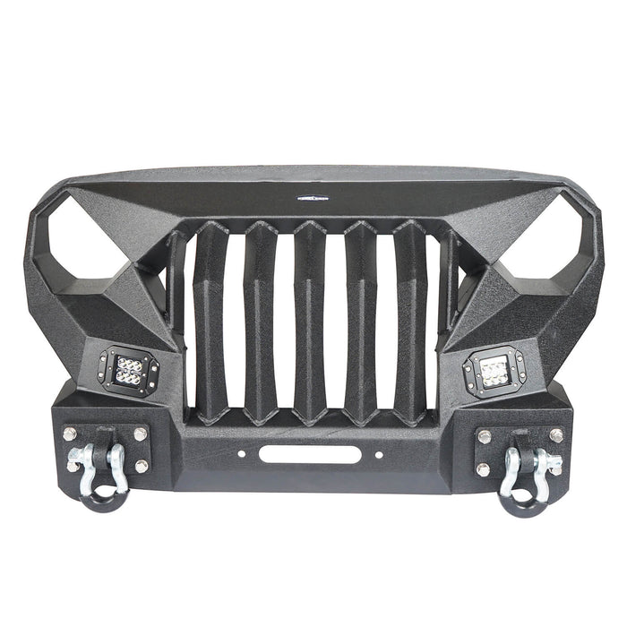 Hooke Road Front Bumper w/Grille Guard &  Winch plate for 2007-2018 Jeep Wrangler JK u-Box Offroad BXG183 2