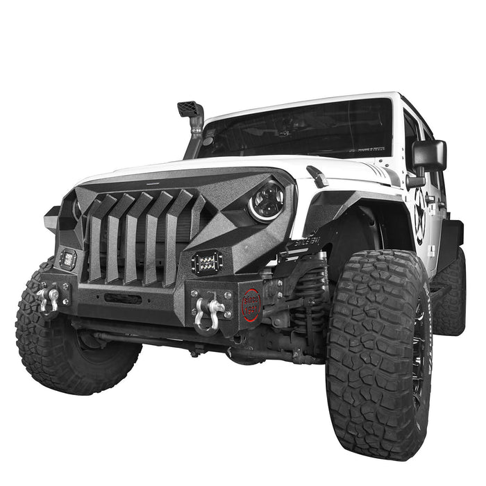 Hooke Road Front Bumper w/Grille Guard &  Winch plate for 2007-2018 Jeep Wrangler JK u-Box Offroad BXG183 4