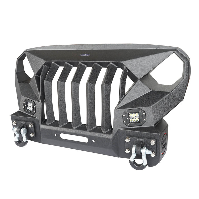 Hooke Road Front Bumper w/Grille Guard &  Winch plate for 2007-2018 Jeep Wrangler JK u-Box Offroad BXG183 5