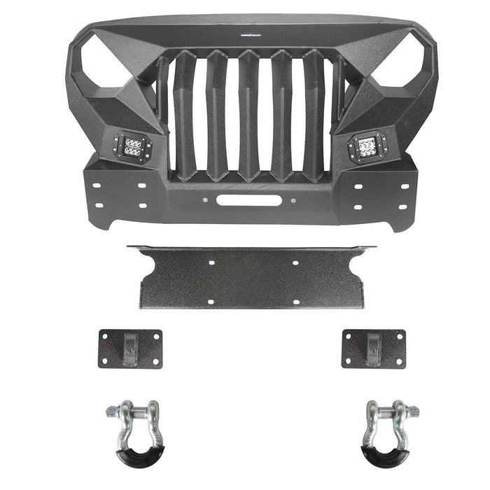Hooke Road Front Bumper w/Grille Guard &  Winch plate for 2007-2018 Jeep Wrangler JK u-Box Offroad BXG183 6