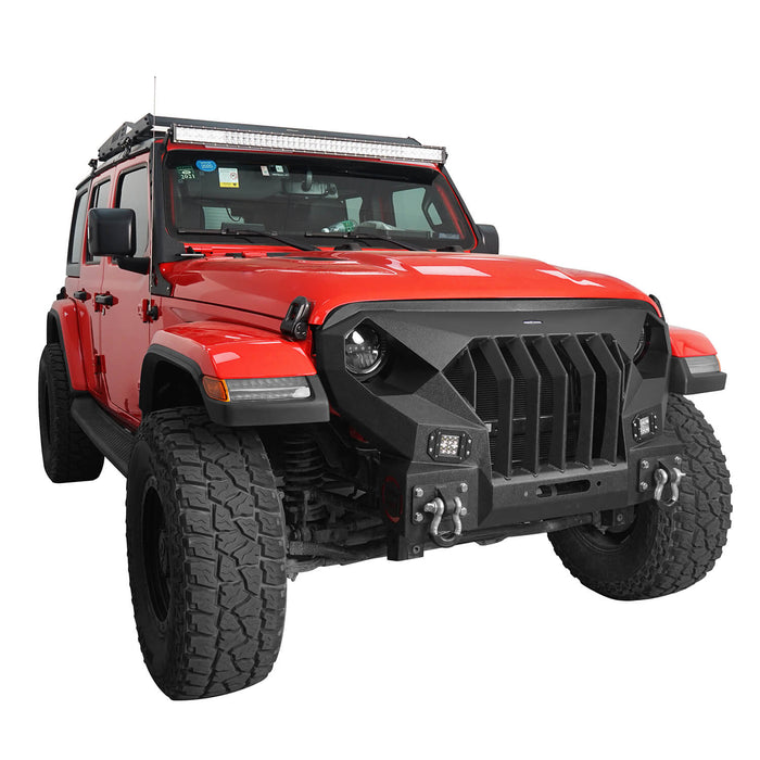 Hooke Road® Front Bumper w/Mad Max Grill(18-21 Jeep Wrangler JL)