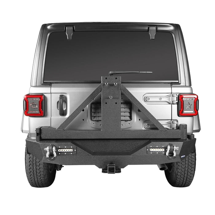 Hooke Road® Mad Max Front Bumper & Rear Bumper w/Tire Carrier(18-21 Jeep Wrangler JL 4 Door)