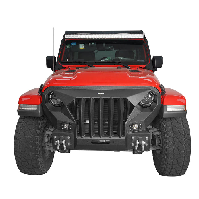 Hooke Road® Mad Max Front Bumper with Grill & Side Steps(18-21 Jeep Wrangler JL 4 Door)