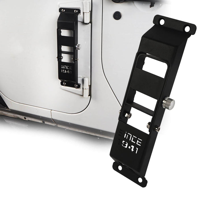 "Hooke Road Opar Matte Black Metal Folding Door Hinge Steps w/ ""Since 1941"" for 2007-2018 Jeep Wrangler JK u-Box 2"
