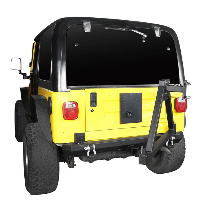 "Hooke Road Opar Matte Black Rear Bumper w/Tire Carrier & 2"" Receiver Hitches for 1997-2006 Jeep Wrangler TJ BXG281 u-Box offroad 5"