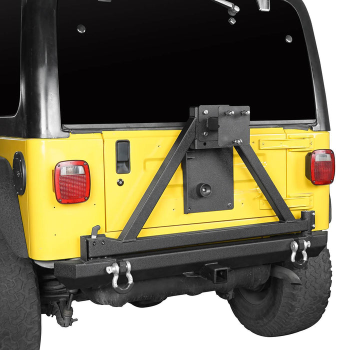 "Hooke Road Opar Matte Black Rear Bumper w/Tire Carrier & 2"" Receiver Hitches for 1997-2006 Jeep Wrangler TJ BXG281 u-Box offroad 6"