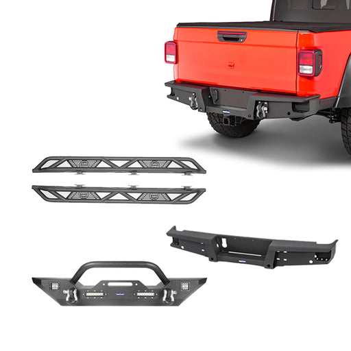 Hooke Road® Mid Width Front Bumper / Rear Bumper / Running Boards(20-21 Jeep Gladiator JT)