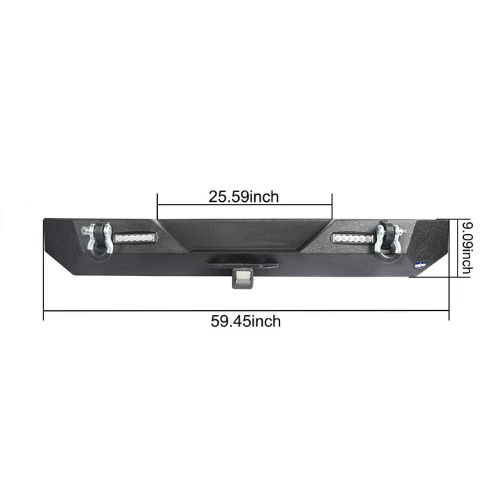 "Hooke Road Different Trail Rear Bumper w/2"" Hitch Receiver for Jeep Wrangler TJ YJ 1987-2006 BXG120 u-Box offroad 13"