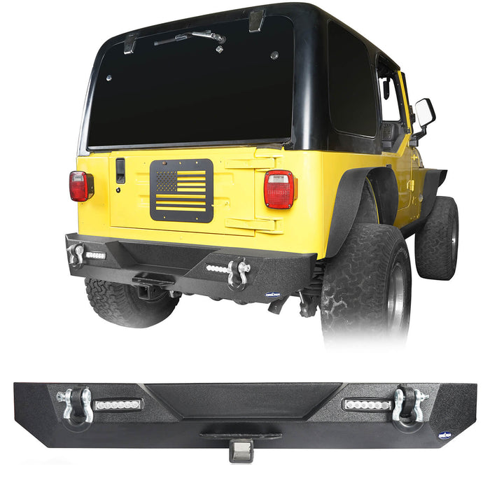 "Hooke Road Different Trail Rear Bumper w/2"" Hitch Receiver for Jeep Wrangler TJ YJ 1987-2006 BXG120 u-Box offroad 2"
