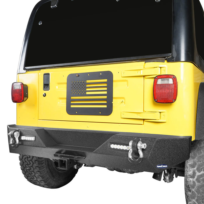 "Hooke Road Different Trail Rear Bumper w/2"" Hitch Receiver for Jeep Wrangler TJ YJ 1987-2006 BXG120 u-Box offroad 3"
