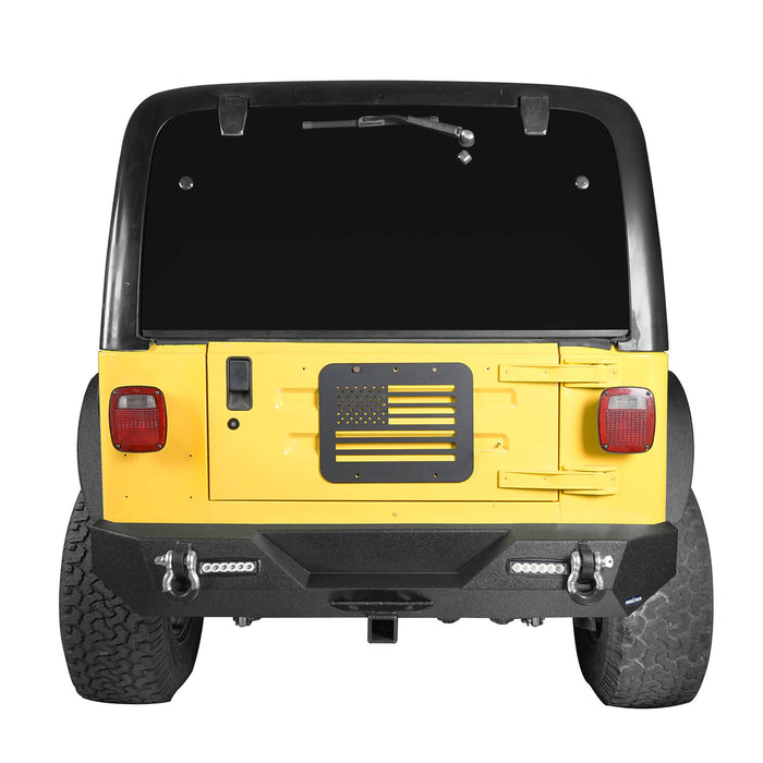 "Hooke Road Different Trail Rear Bumper w/2"" Hitch Receiver for Jeep Wrangler TJ YJ 1987-2006 BXG120 u-Box offroad 4"