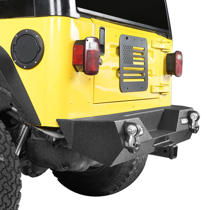 "Hooke Road Different Trail Rear Bumper w/2"" Hitch Receiver for Jeep Wrangler TJ YJ 1987-2006 BXG120 u-Box offroad 6"