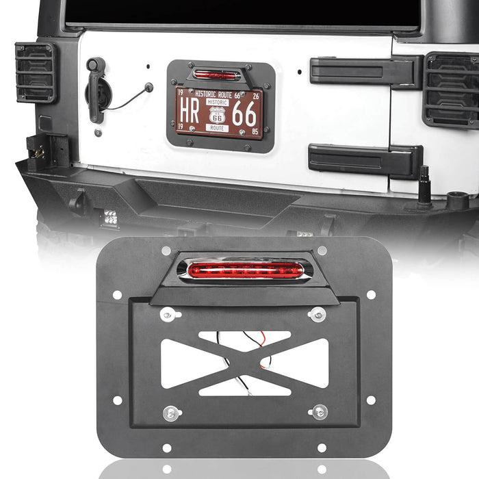 Hooke Road Rear License Plate Bracket with Light for Jeep Wrangler JK 2007-2018 MMR1805 Jeep Rear License Plate Bracket 2