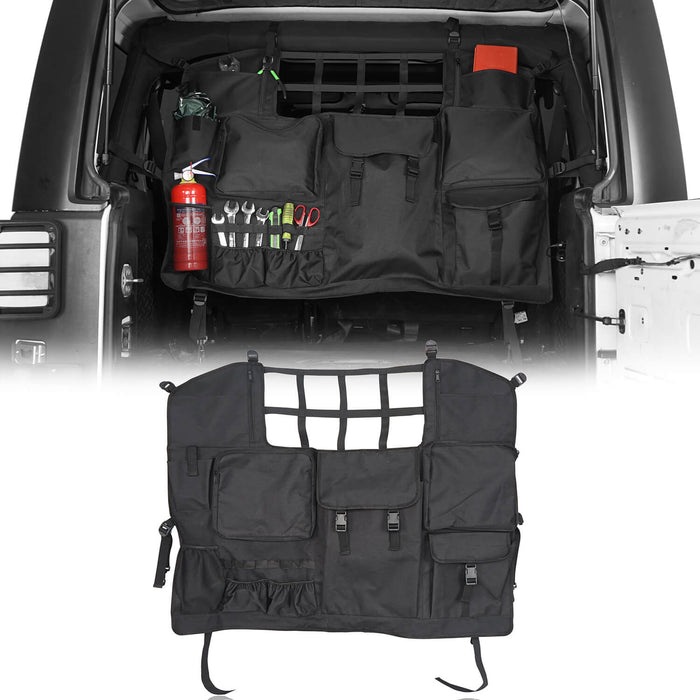 Rodeo Trail Rear Seat Cover Trunk Tool Organizers Cargo Net w/Storage Pouch Bags Hanging Nets(07-20 Jeep Wrangler JK JL 4 Doors)