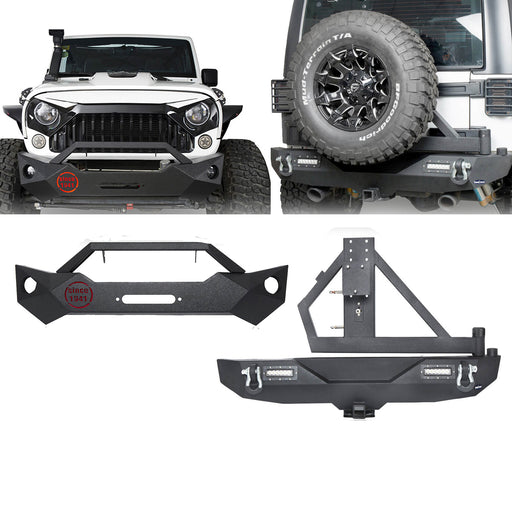 Hooke Road® Rock Crawler Stubby Front Bumper & Different Trail Rear Bumper w/Tire Carrier Combo(07-18 Jeep Wrangler JK JKU)