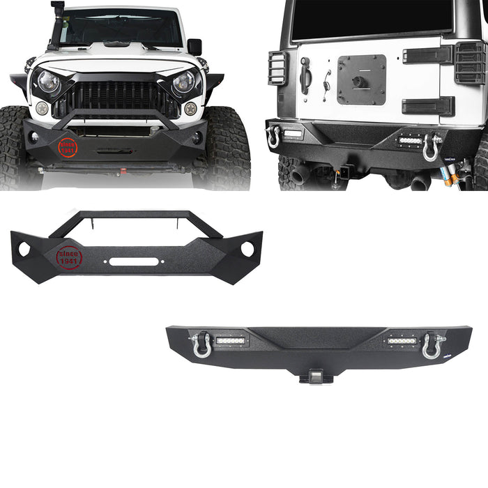 Hooke Road Opar Rock Crawler Front Bumper & Different Trail Rear Bumper Combo Kit for 2007-2018 Jeep Wrangler JK JKU BXG038116 u-Box offroad 2