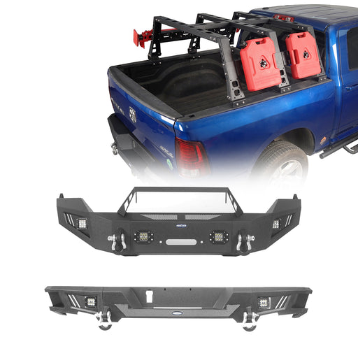 Hooke Road Full Width Front Bumper / Rear Bumper / Bed Rack(13-18 Dodge Ram 1500, Excluding Rebel)