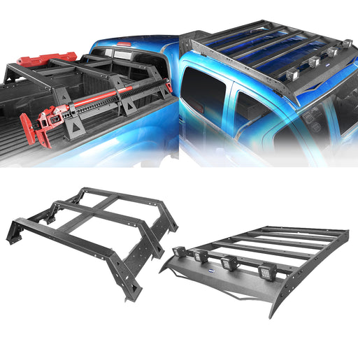 "Hooke Road® Roof Rack Luggage Cargo Carrier & 11.7"" High Bed Rack(05-21 Toyota Tacoma)"