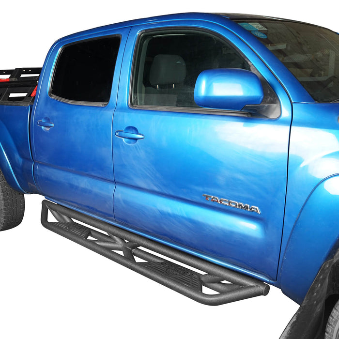 Hooke Road Toyota Tacoma Side Steps 4 Door Tubular Nerf Bars Toyota Tacoma Parts for Toyota Tacoma 2005-2019 2nd Gen 3rd Gen BXG404 u-Box offroad 3